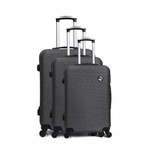 Sada 3 tmavosivých cestovných kufrov na kolieskách Bluestar Vanity