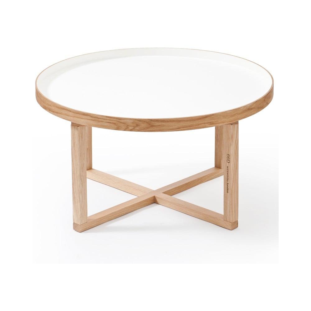 Okrúhly stolík s bielou doskou z dubového dreva Wireworks Round, Ø 66 cm
