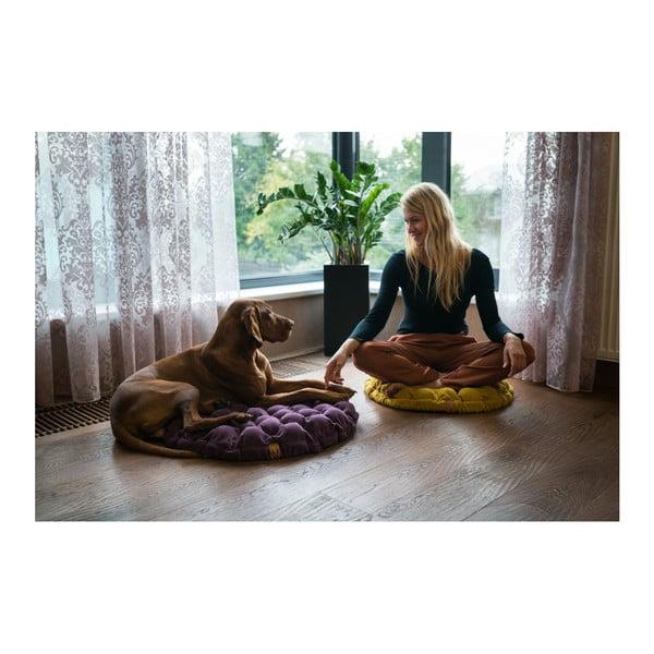 Tmavohnedý sedací vankúšik s masážnymi loptičkami Linda Vrňáková Bloom, Ø 75 cm
