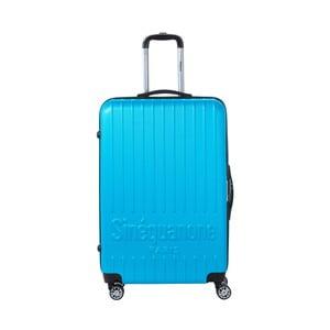 Tyrskysovomodrý cestovný kufor na kolieskách s kódovým zámkom SINEQUANONE Rina, 107 l