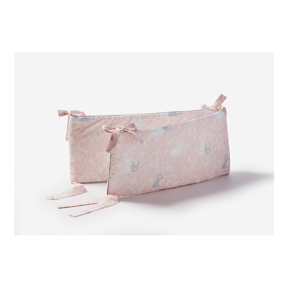 Ružová zábrana do detskej postieľky Pinio Bunnies, 180 × 27 cm