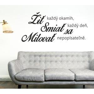 Samolepka na stenu Žiť Smiať sa Milovať