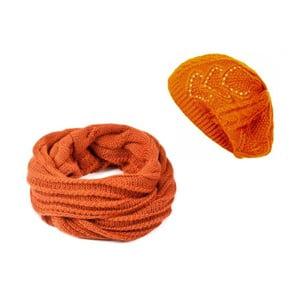 Oranžová čiapka so šálom Lavaii Winter