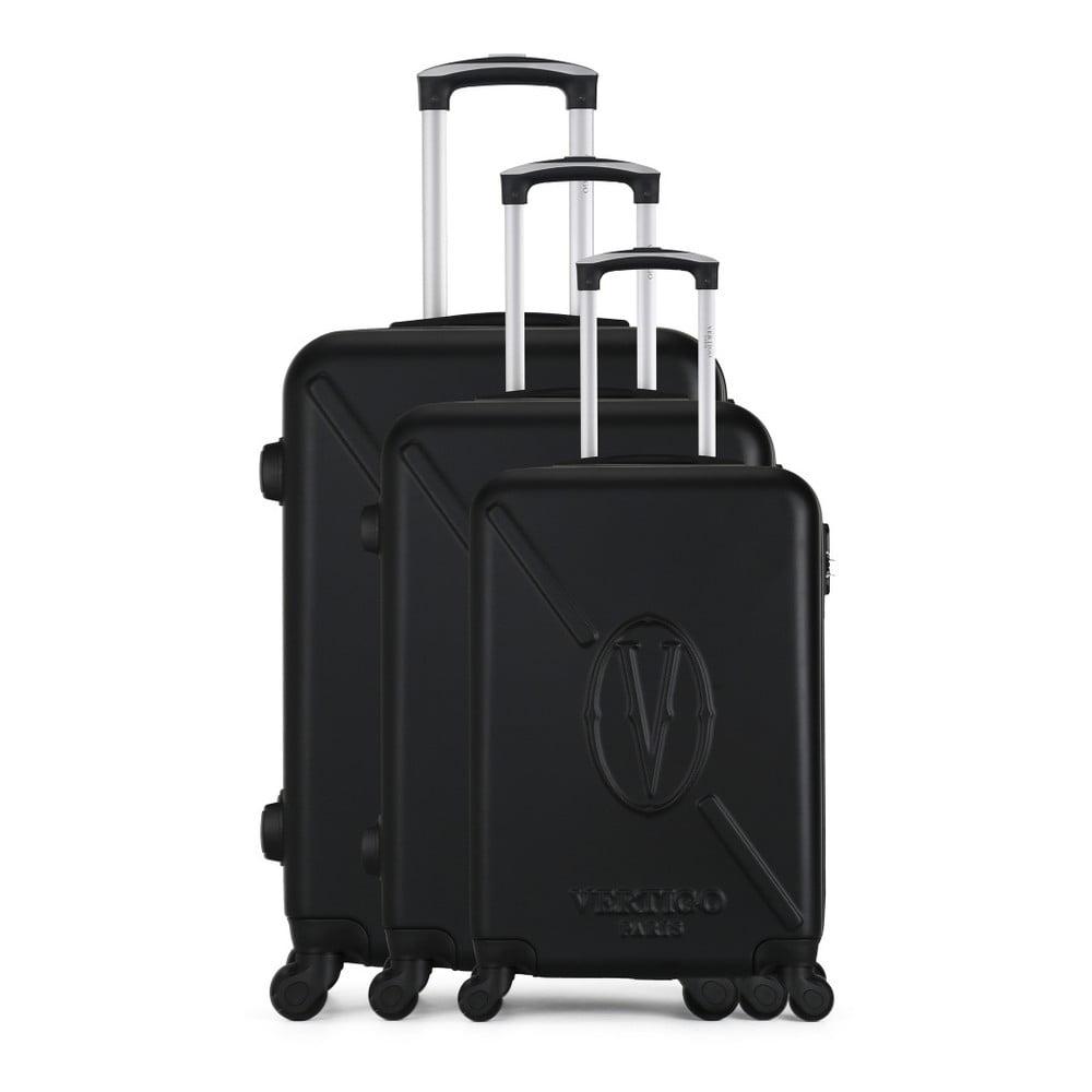 Sada 3 čiernych cestovných kufrov na kolieskach VERTIGO Cadenas Integre Moues