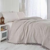 Hnedý bavlnený ľahký pléd na posteľ Brown, 220×240 cm