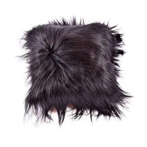 Tmavý obojstranný kožušinový vankúš s dlhým vlasom Blacky, 45x45cm