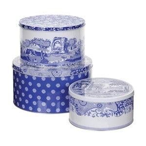 Sada 3 bielo-modrých plechových dóz Spode Blue Italian