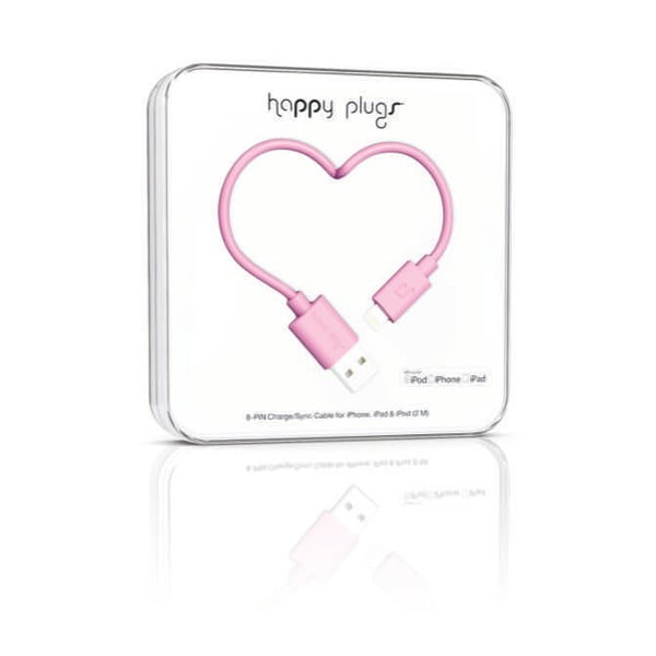 Ružový Happy Plugs nabíjací a dátový kábel, 2 metre