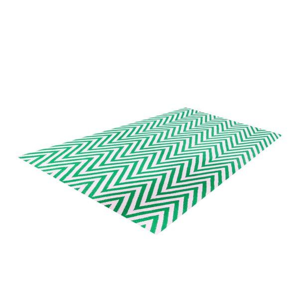 Vlnený koberec Zig Zag Green, 200x140 cm