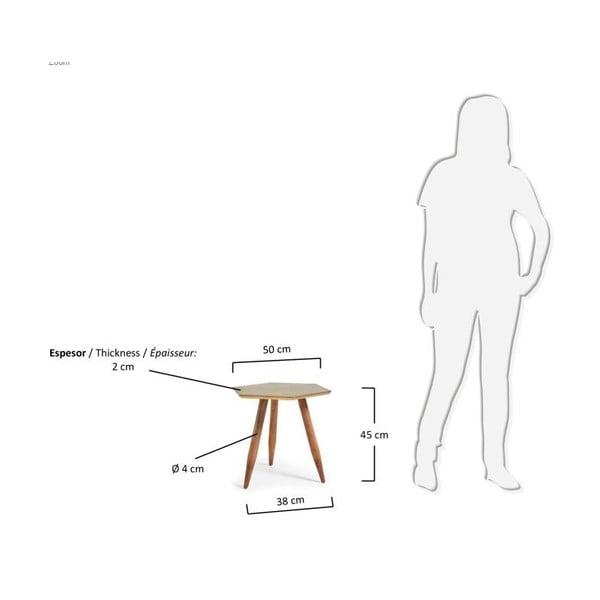 Odkladací stolík s doskou vo farbe mosadze La Forma Bima