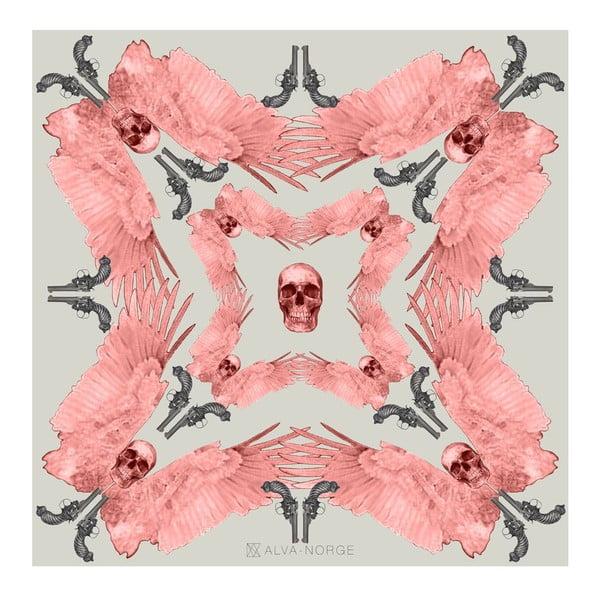 Vlnená šatka s kašmírom Guns Pink, 130x130 cm
