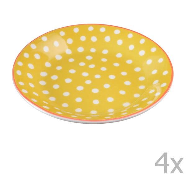 Sada 4 porcelánových tanierikov s bodkami Oilily 10 cm, žltá