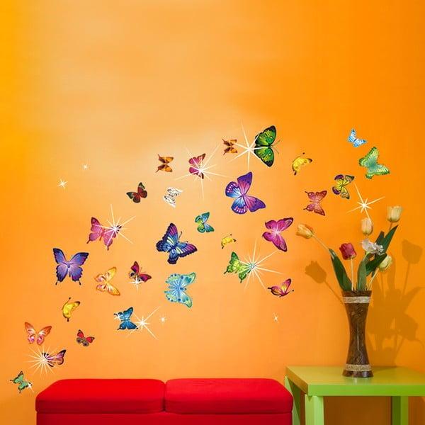 Samolepka na stenu Farební motýlikovia so Swarovski kamienkami
