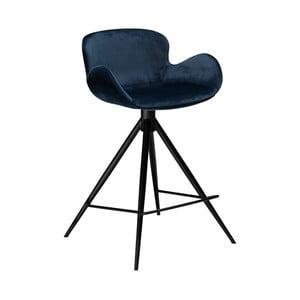 Tmavomodrá barová stolička DAN–FORM Denmark Gaia Velvet, výška 87 cm