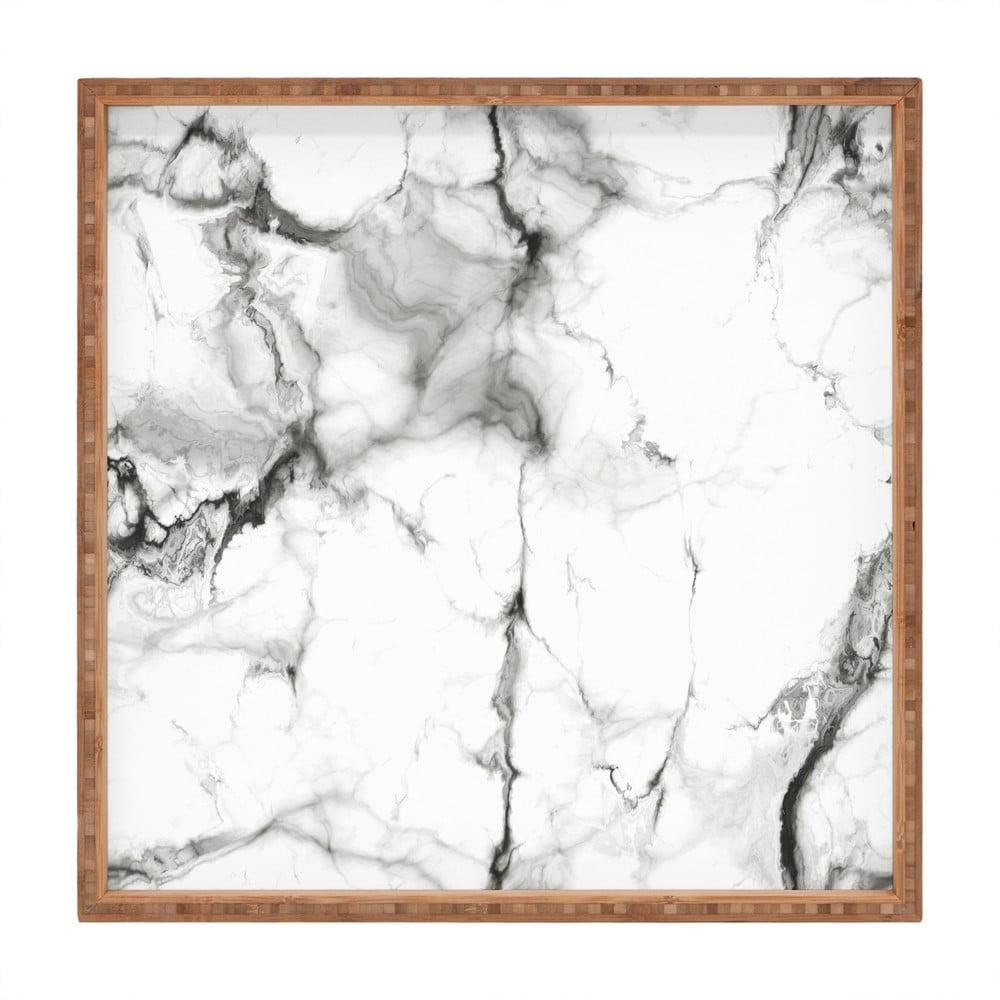 Drevený dekoratívny servírovací podnos Marble, 40 × 40 cm