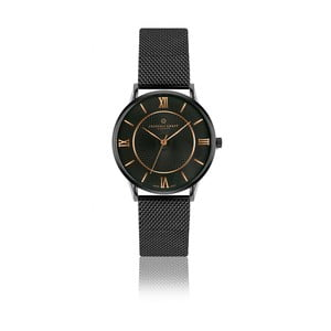 Unisex čierne hodinky z antikoro ocele s detailmi vo farbe ružového zlata Frederic Graff Hypnotic
