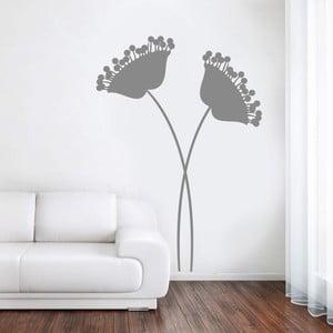 Dekoratívna samolepka na stenu Dva moderné kvety, sivé