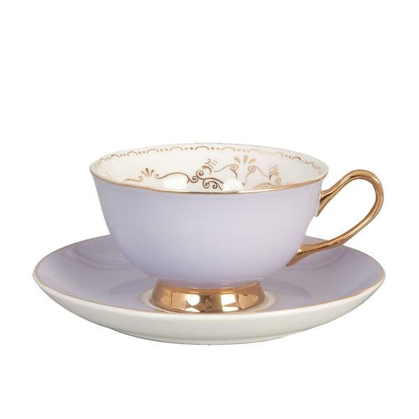 Porcelánová šálka s tanierikom Clayre Purple, 200 ml