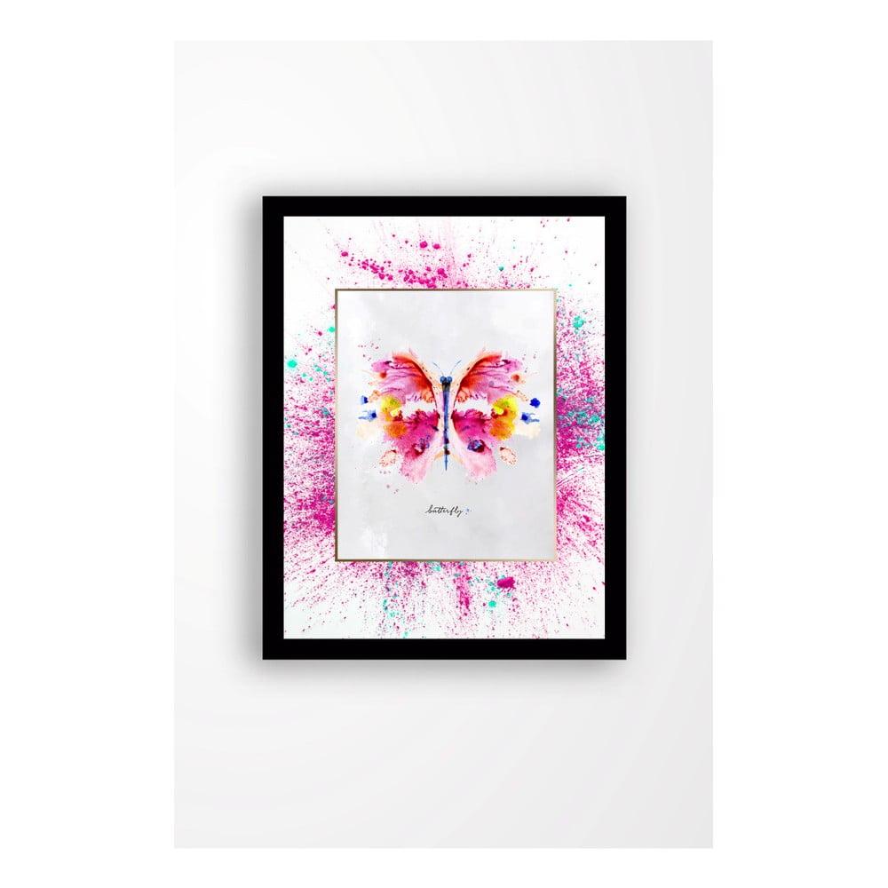 Nástenný obraz na plátne v čiernom ráme Tablo Center Butterfly, 29 × 24 cm