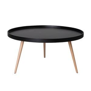 Čierny konferenčný stolík s nohami z bukového dreva Furnhouse Opus, Ø90 cm