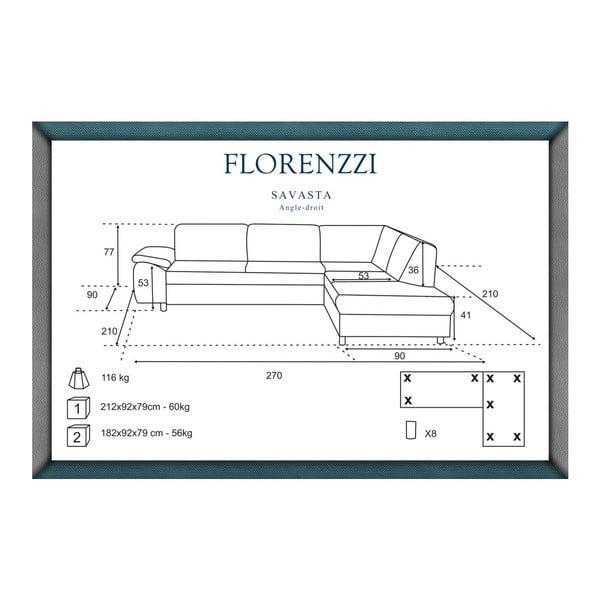 Tmavomodrá pohovka Florenzzi Savasta s leňoškou na pravej strane