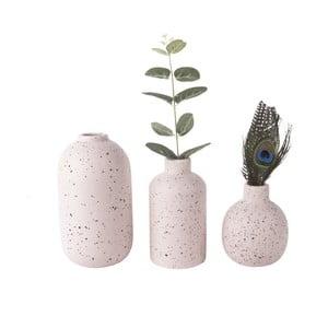 Sada 3 ružových keramických váz PT LIVING Dotted