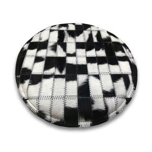 Podsedák z hovädzej kože Arctic Fur B&W, ⌀ 35 cm