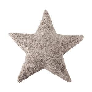 Béžový bavlnený ručne vyrobený vankúš Lorena Canals Star, 54 x 54 cm