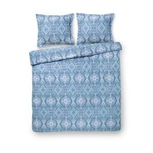 Modré obliečky z bavlneného saténu na dvojposteľ Ekkelboom Trix, 240×200 cm