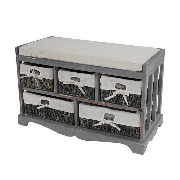Sivá lavica s úložnými košíkmi Mendler Shabby