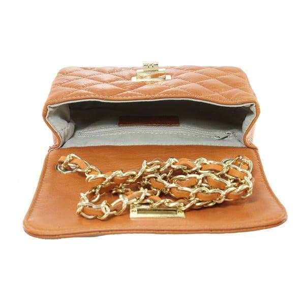 Horčicovožltá kožená listová kabelka Chicca Borse Cee Cee