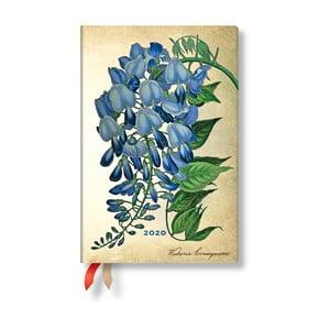 Viacfarebný diár na rok 2020 v tvrdej väzbe Paperblanks Blooming Wisteria, 160 strán