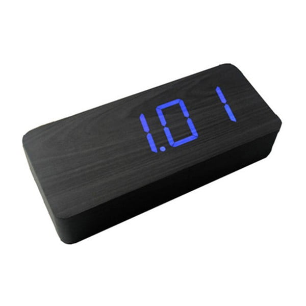Čierny budík s modrým LED displejom Gingko Slab Click Clock
