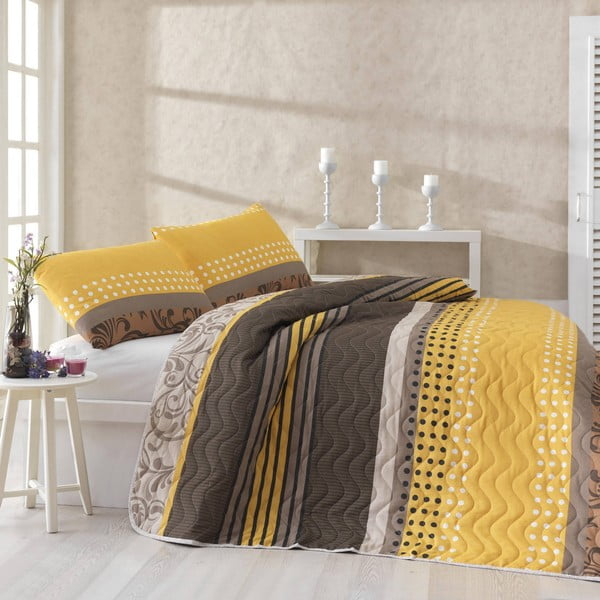 Prešívaná prikrývka s obliečkami na vankúše Miranda Yellow, 200x220 cm