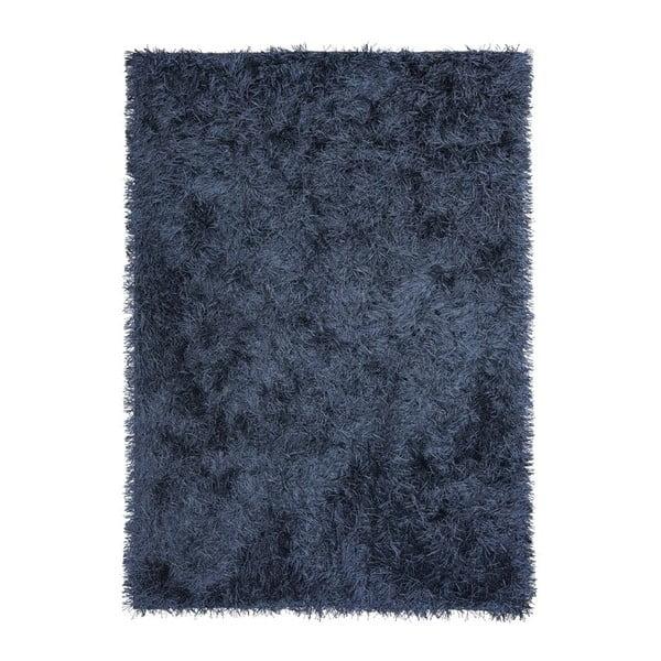 Tmavomodrý ručne tkaný vlnený koberec Dishy, 170x240cm