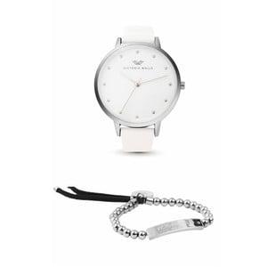 Set dámskych hodiniek s bielym koženým remienkom a náramkom Victoria Walls Alice