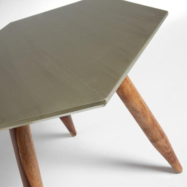 Odkladací stolík s doskou vo farbe striebra La Forma Bima