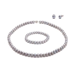 Set sivých perlových šperkov GemSeller Coen