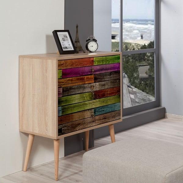 Drevená komoda s 3 zásuvkami Kasiani Rainbow