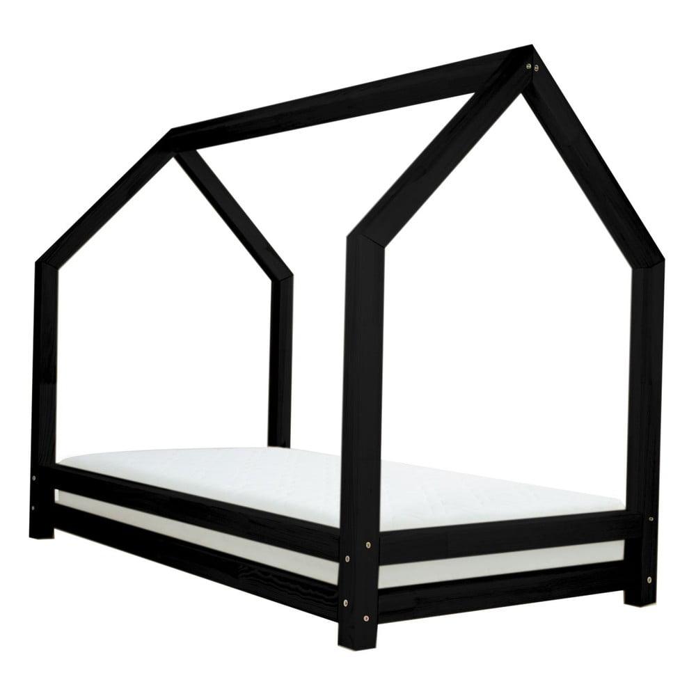 Čierna jednolôžková posteľ z borovicového dreva Benlemi Funny, 80 × 160 cm