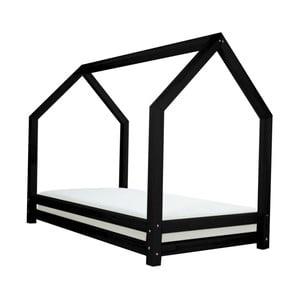 Čierna jednolôžková posteľ z borovicového dreva Benlemi Funny, 80 x 160 cm