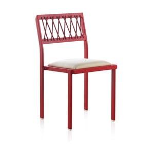 Červená záhradná stolička s bielymi detailmi Geese Seally