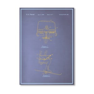 Plagát Ski Lift, 30x42 cm