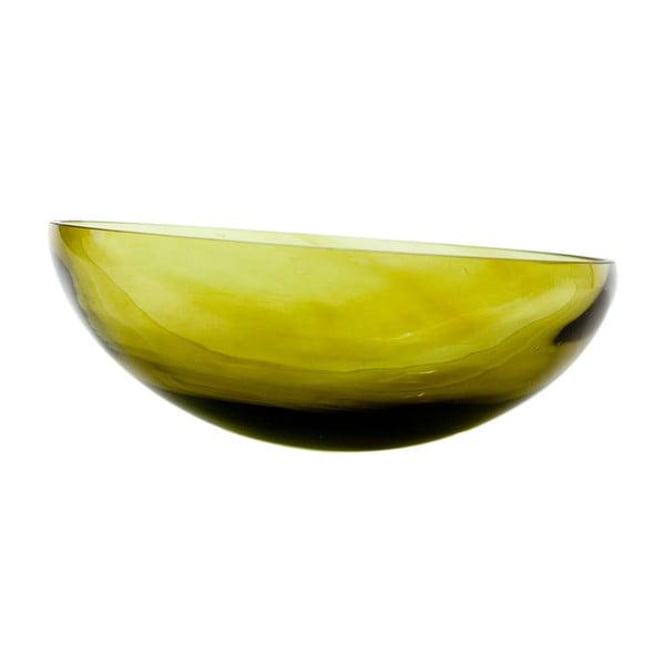 Sklenená misa, olivová