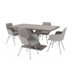 Sada stola a 4 sivých stoličiek Støraa Albert