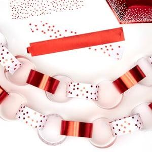 Červená závesná papierová reťaz Neviti Red & White Dots, dĺžka 3 m