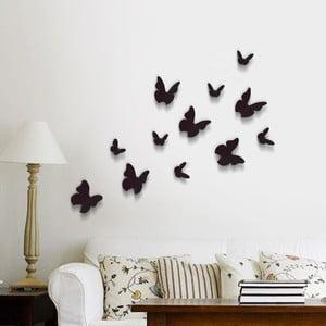 Trojrozmerné samolepky - motýlikovia, jednofarební čierni