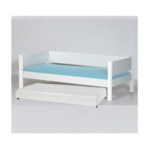 Biela detská posteľ s bezpečnostnými postrannými peľasťami a výsuvnou prístielkou Manis-h Liv, 90 x 200 cm