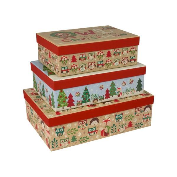 Sada 3 ks podlhovastýchkrabíc Tri-Coastal Christmas Stories