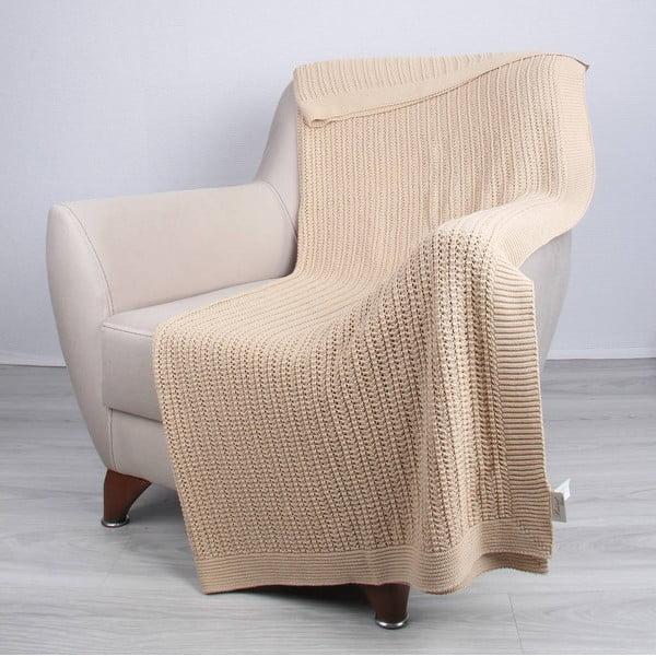 Svetlobéžová bavlnená deka Clen